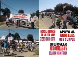 Algunos manifestantes y carteles de la manifestación.